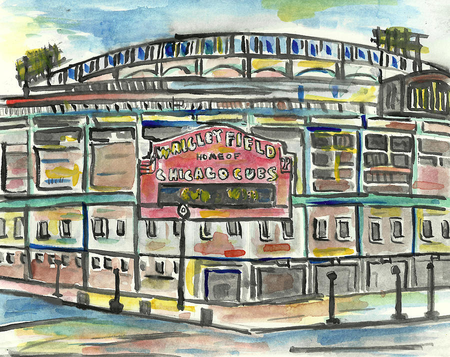 Baseball Painting - Wrigley Field by Matt Gaudian