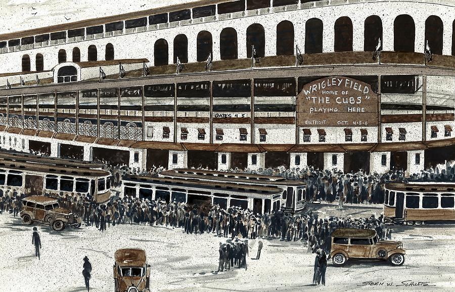 Baseball Painting - Wrigley Field by Steven W Schultz