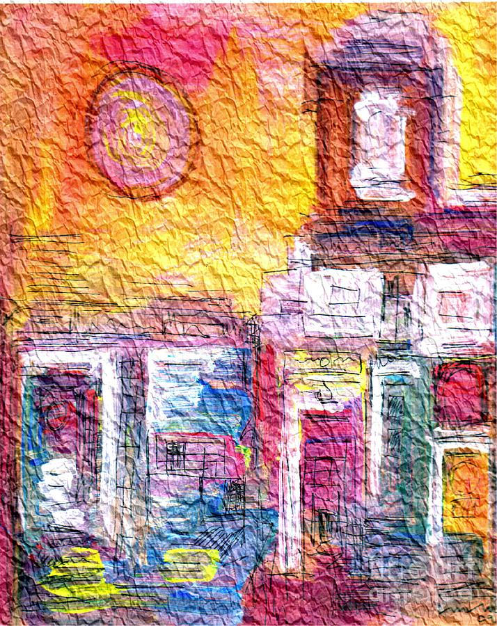 Town Painting - Wrinkled Tissue Paper by Mimo Krouzian
