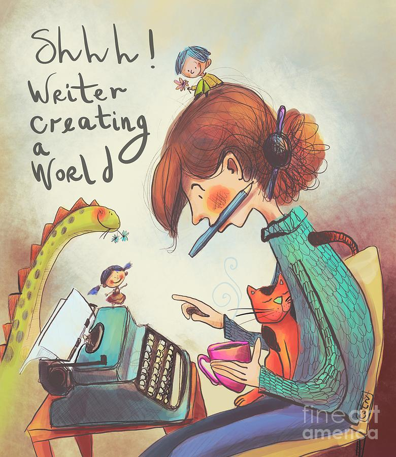 Writer Digital Art by Carina Povarchik