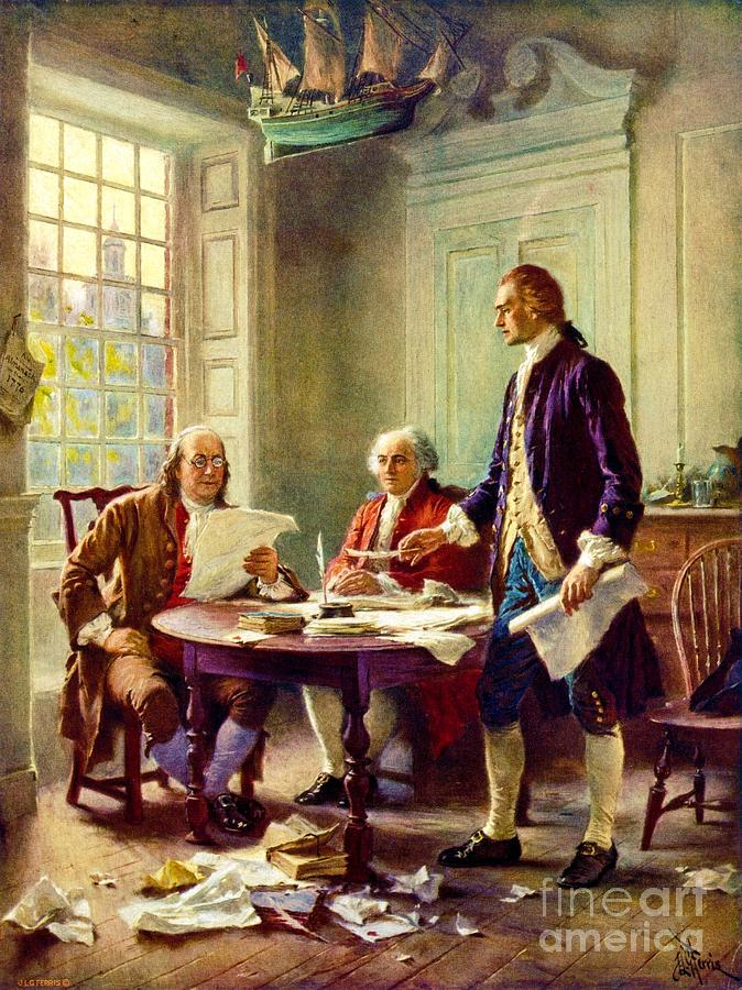 Reproduction Painting - Writing Declaration Of Independence by Pg Reproductions