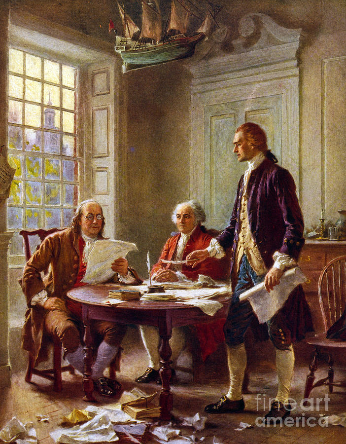 1776 Painting - Writing the Declaration of Independence, 1776, by Leon Gerome Ferris