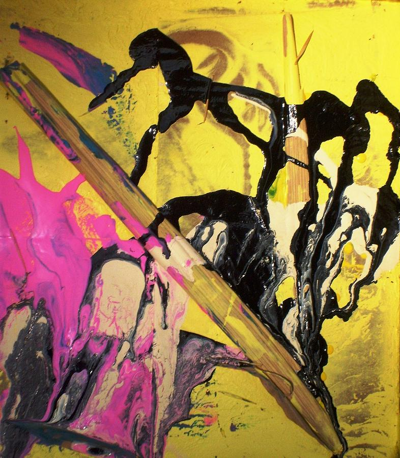 Abstract Painting - Written History Began When Monkeys Invented A Giagantic Pencil by Bruce Combs - REACH BEYOND