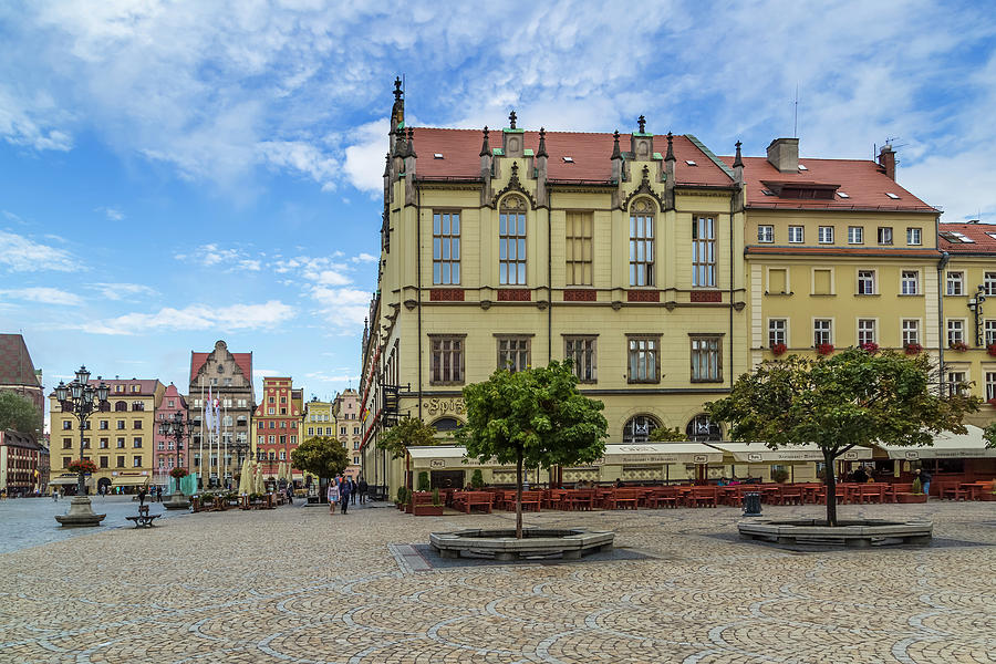 Architecture Photograph - Wroclaw Market Square, New Town Hall And Tenement Houses by Melanie Viola