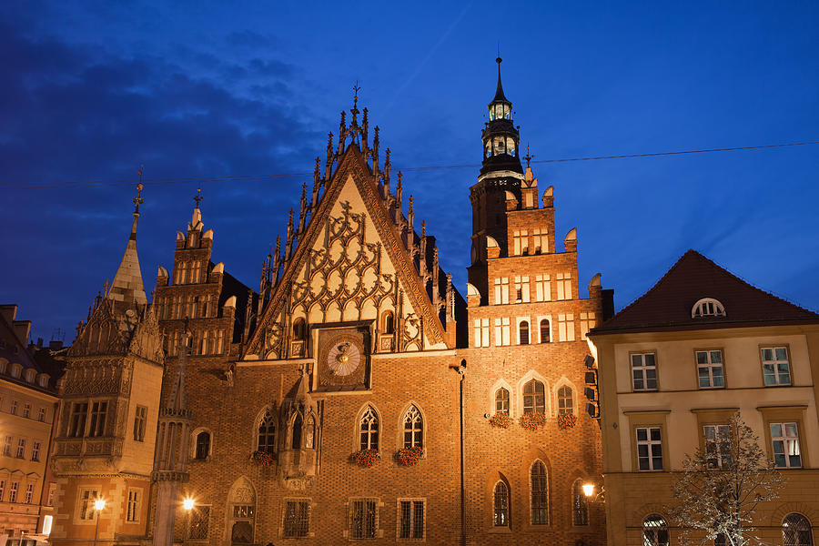 Wroclaw Photograph - Wroclaw Old Town Hall At Night by Artur Bogacki