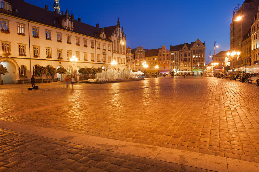 Wroclaw Photograph - Wroclaw Old Town Market Square At Night by Artur Bogacki