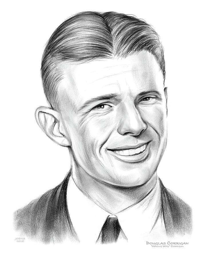 Anti-hero Drawing - Wrong Way Corrigan by Greg Joens