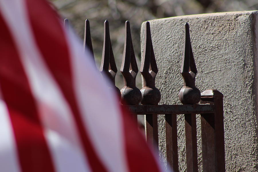 Patriotic Photograph - Wrought Iron And American Flag by Colleen Cornelius