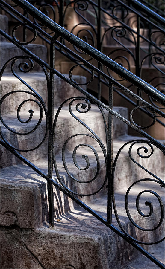 Steps Photograph - Wrought Iron Bannister  by Robert Ullmann
