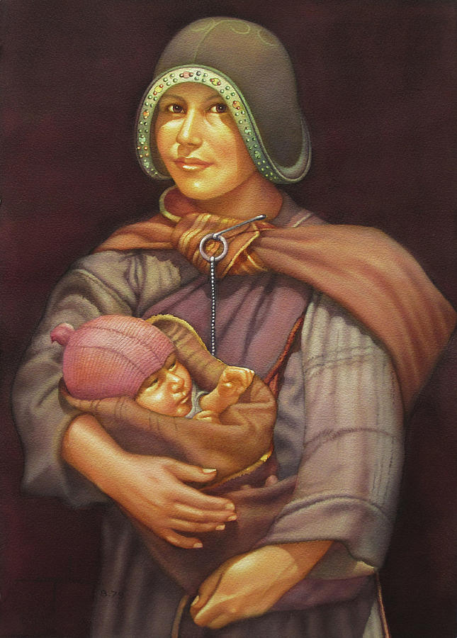 Alfredo Painting - Ws1979dc003 Mother And Child 18x24 by Alfredo Da Silva