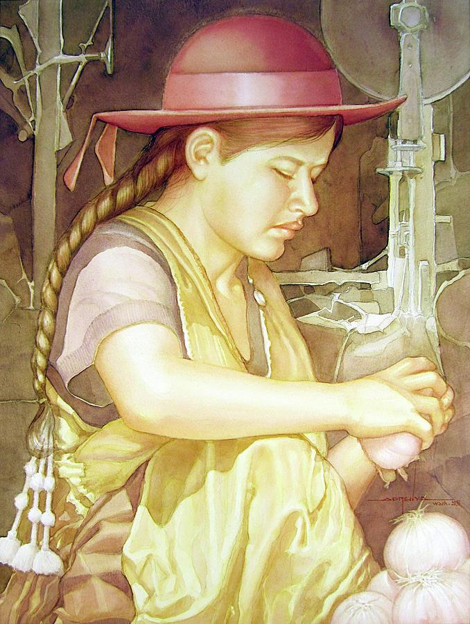 Watercolor Painting - Ws1995dc004 Ivon 15x20 by Alfredo Da Silva