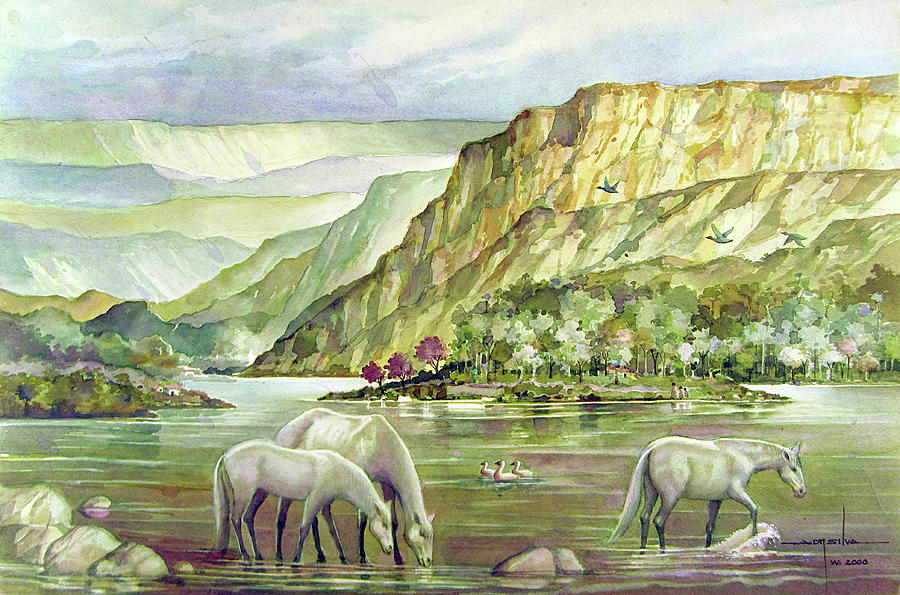 Alfredo Painting - Ws2000dc023 Landscape Bolivia 18x12 by Alfredo Da Silva