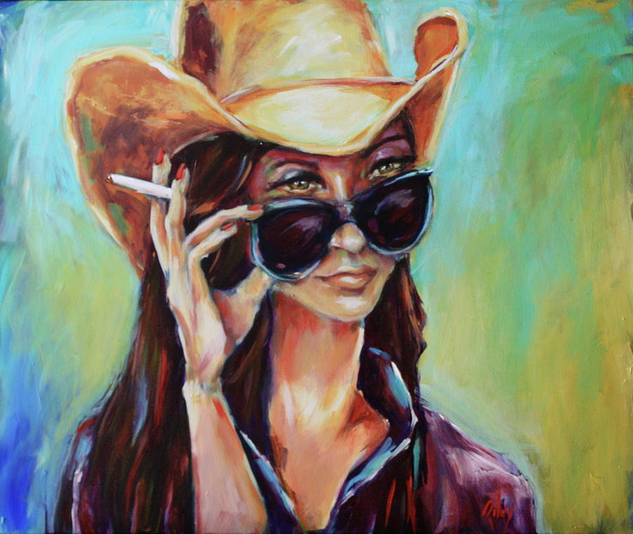 Cowgirl Painting - Wudja Look At That by Chris Riley
