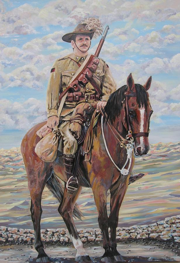 Ww1 Painting - Ww1 Lighthorse At Beersheba by Leonie Bell