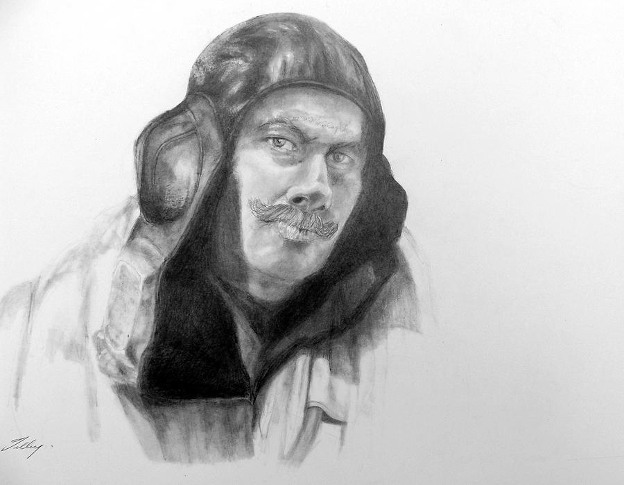 Ww2 Aviator Drawing by Susan Tilley