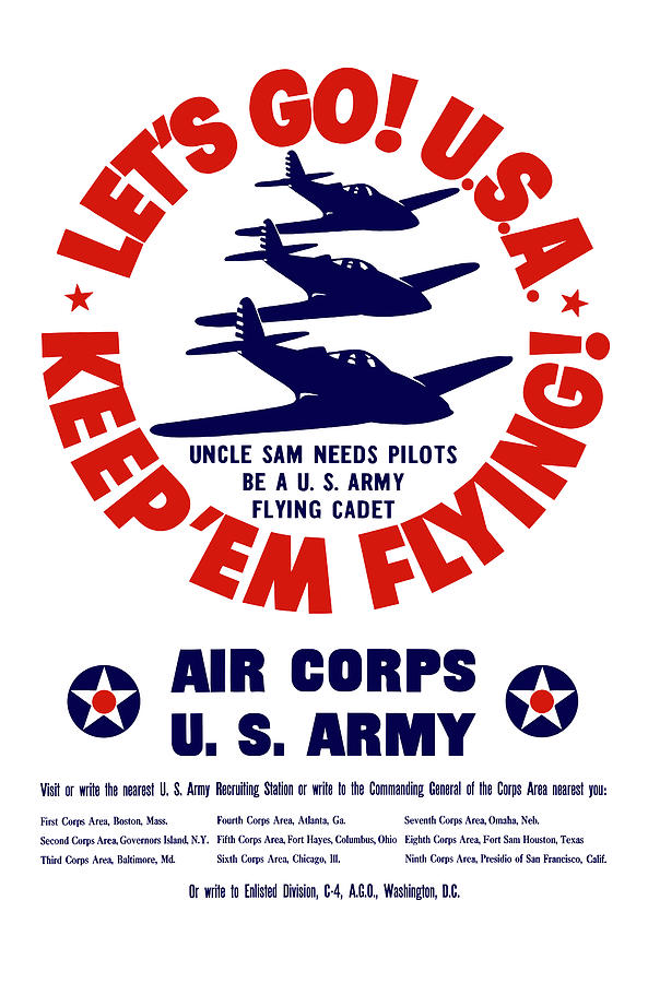 Air Corps Painting - Us Army Air Corps - Ww2 by War Is Hell Store