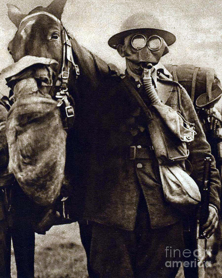 History Photograph - Wwi, Gas Masks On British Soldier by Science Source
