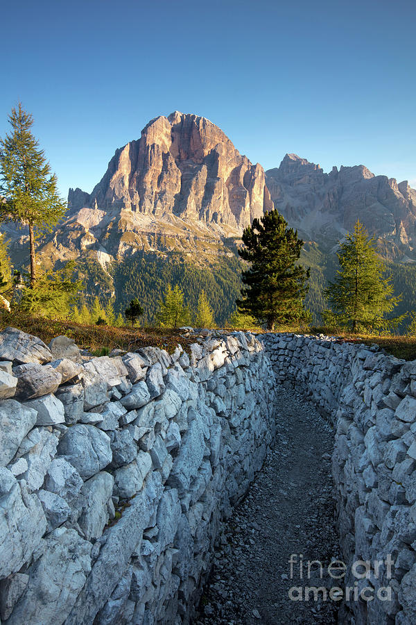 Alpine Photograph - Wwi Trenches - Dolomites by Brian Jannsen