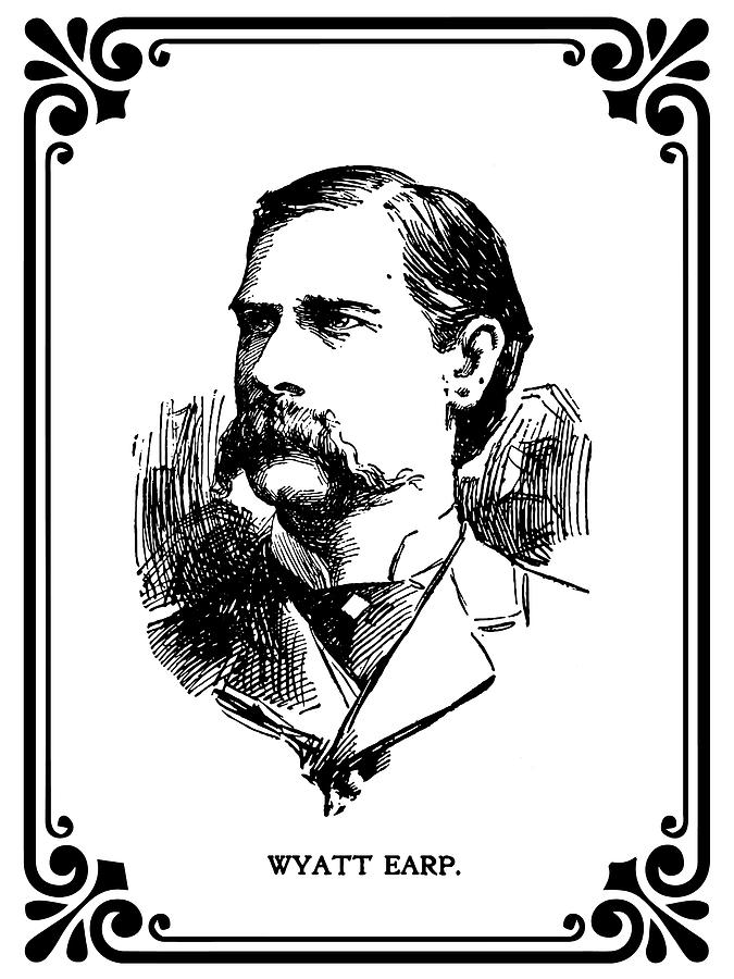 Old West Mixed Media - Wyatt Earp Newspaper Portrait  1896 by Daniel Hagerman