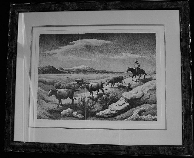 Thomas Hart Benton Drawing - Wyoming Autumn F.91 by Thomas Hart Benton