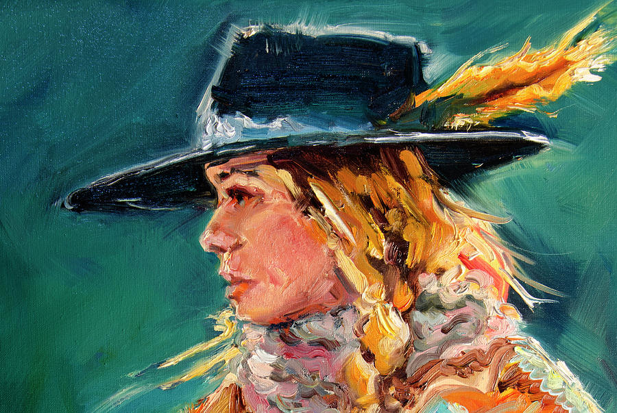 Cowgirl Painting - Wyoming Cowgirl Close by Diane Whitehead
