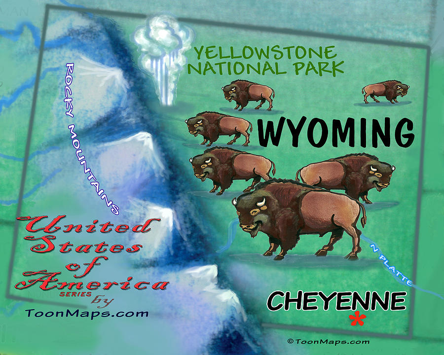 Wyoming Fun Map Digital Art