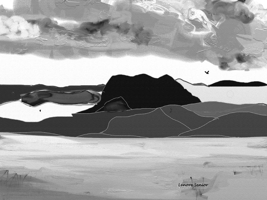 Abstract Mixed Media - Wyoming Landscape 3 - B-w by Lenore Senior