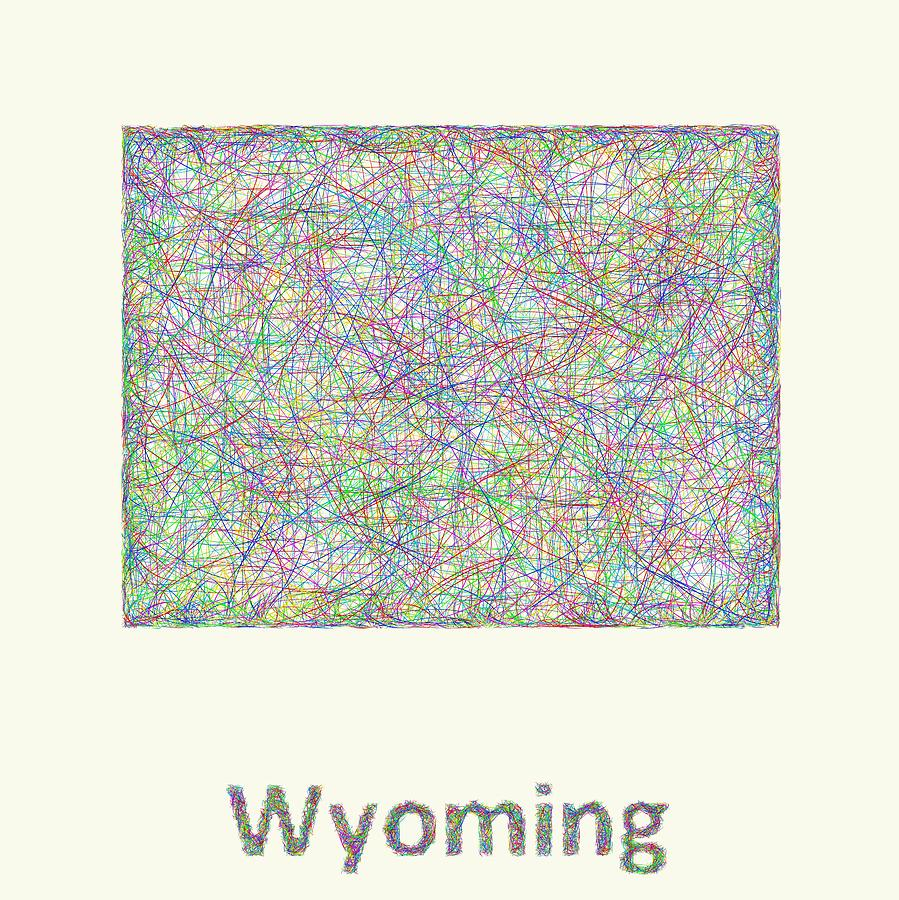 Wyoming Digital Art - Wyoming line art map by David Zydd