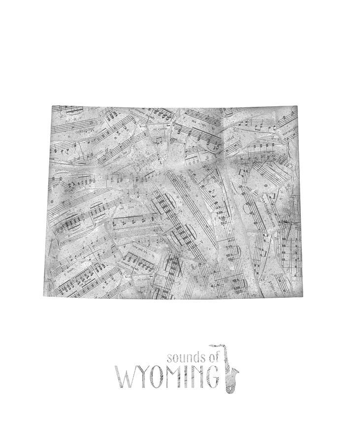 Wyoming Map Music Notes Digital Art