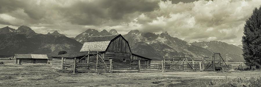 Silver Photograph - Wyoming Mormon Row Moulton Barn Silver Panorama by James BO Insogna
