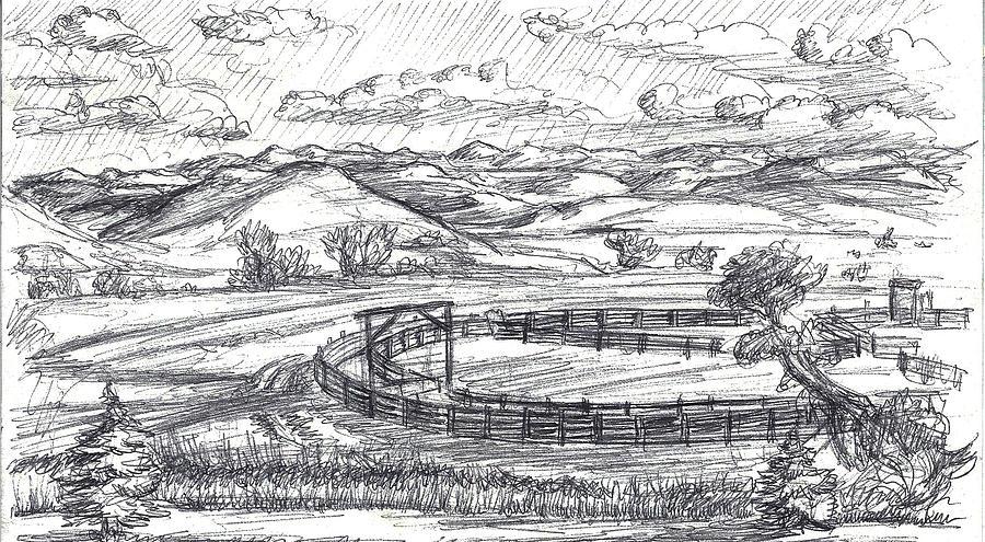 Wyoming Ranch Field Sketch Drawing By Dawn Senior Trask