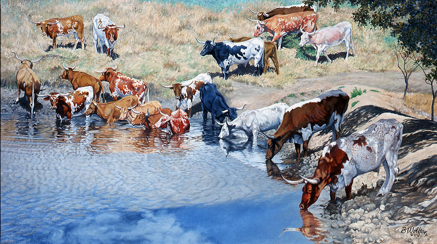 Wyoming Watering Hole Painting by Bassel Wolfe