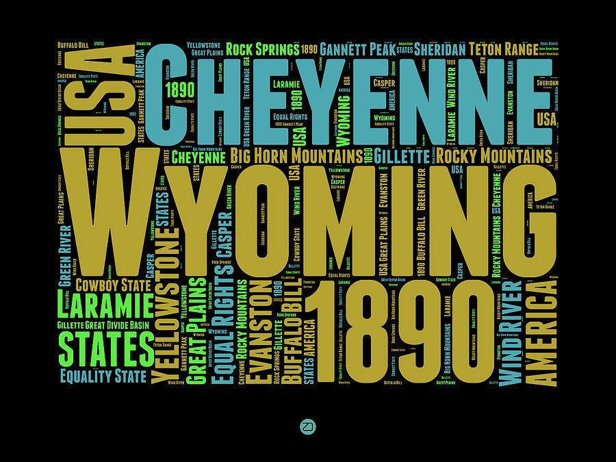Wyoming Digital Art - Wyoming Word Cloud Map 1 by Naxart Studio