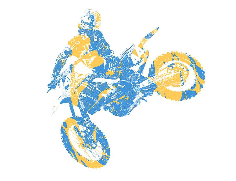 X Games Motocross Pixel Art 3 Mixed Media by Joe Hamilton