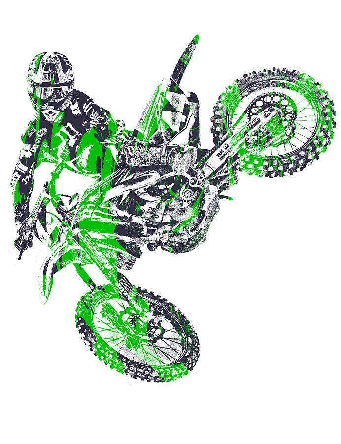 X Games Motocross Pixel Art 7 Mixed Media By Joe Hamilton