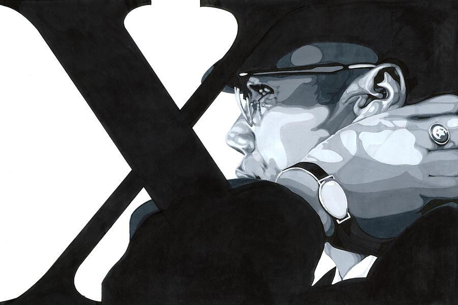 Grey Scale Drawing - X by Lamark Crosby