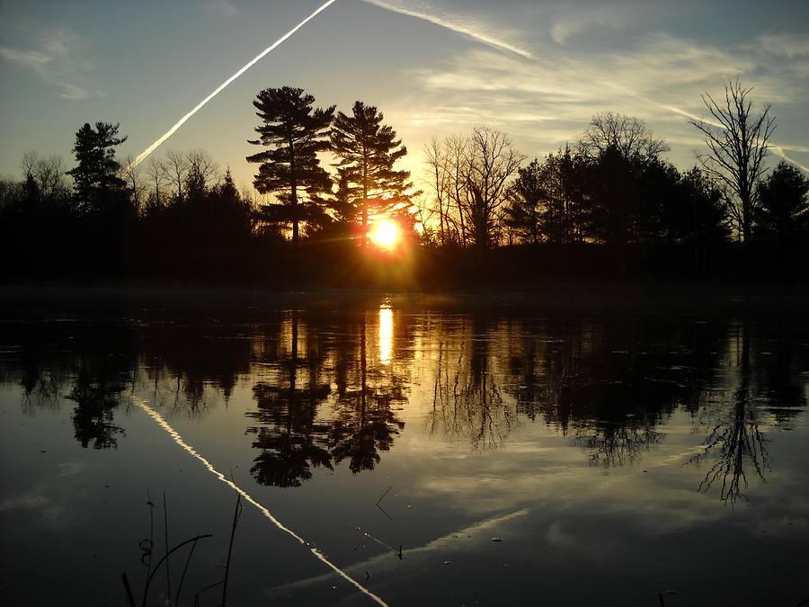 X Marks the Spot Sunrise Reflection by Kent Lorentzen