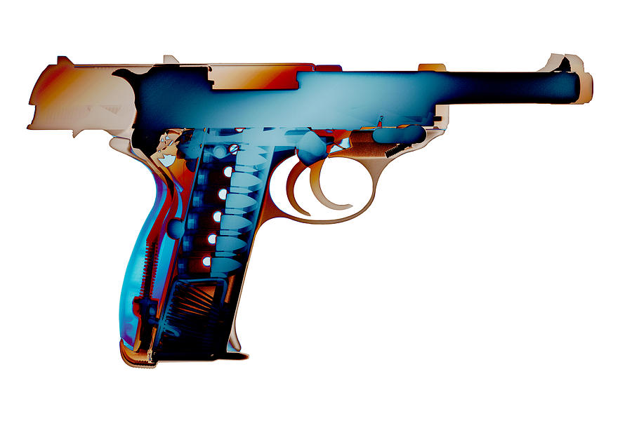 Walther P38 Photograph - X-ray Art Of Walther P38 No.2 by Ray Gunz