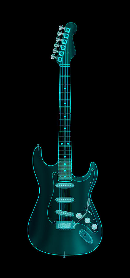 Electric Guitar Digital Art - X-ray Electric Guitar by Michael Tompsett