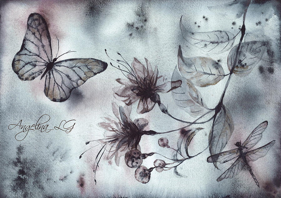Butterfly Painting - X-ray Vision II by Angelina Ligomina