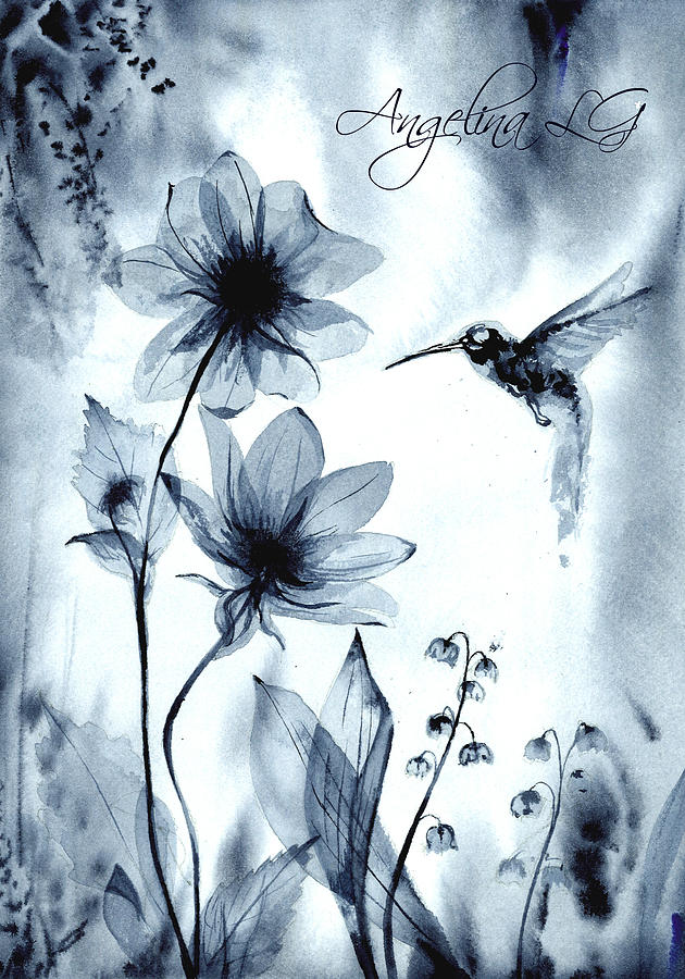 Hummingbird Painting - X-ray Vision IIi by Angelina Ligomina