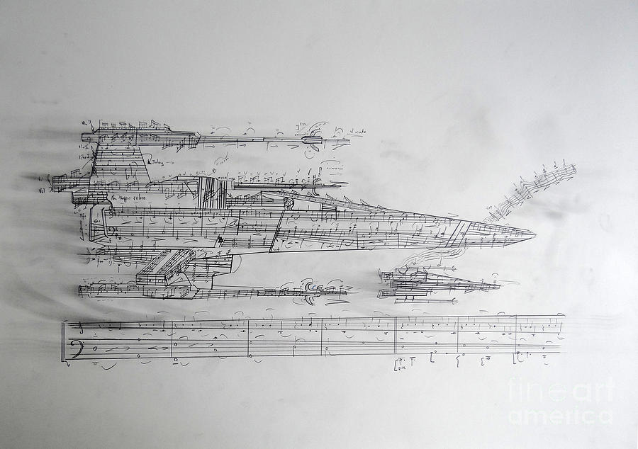 Star Wars Drawing - X-Wing Graphic Score by Philip Sheppard
