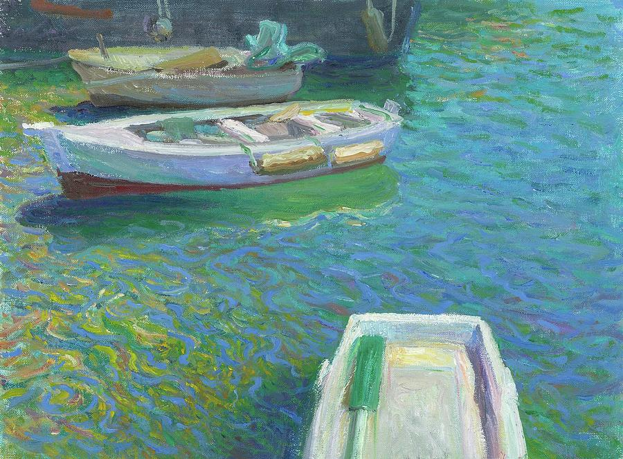 Port Painting - Xabia Harbour With Fishing Boats by Ben Rikken
