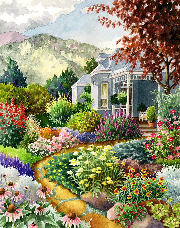 Xeriscape Garden Painting by Anne Gifford