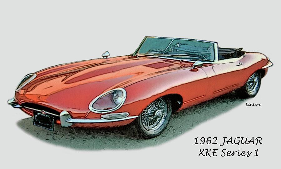 Jaguar Digital Art - XKE by Larry Linton