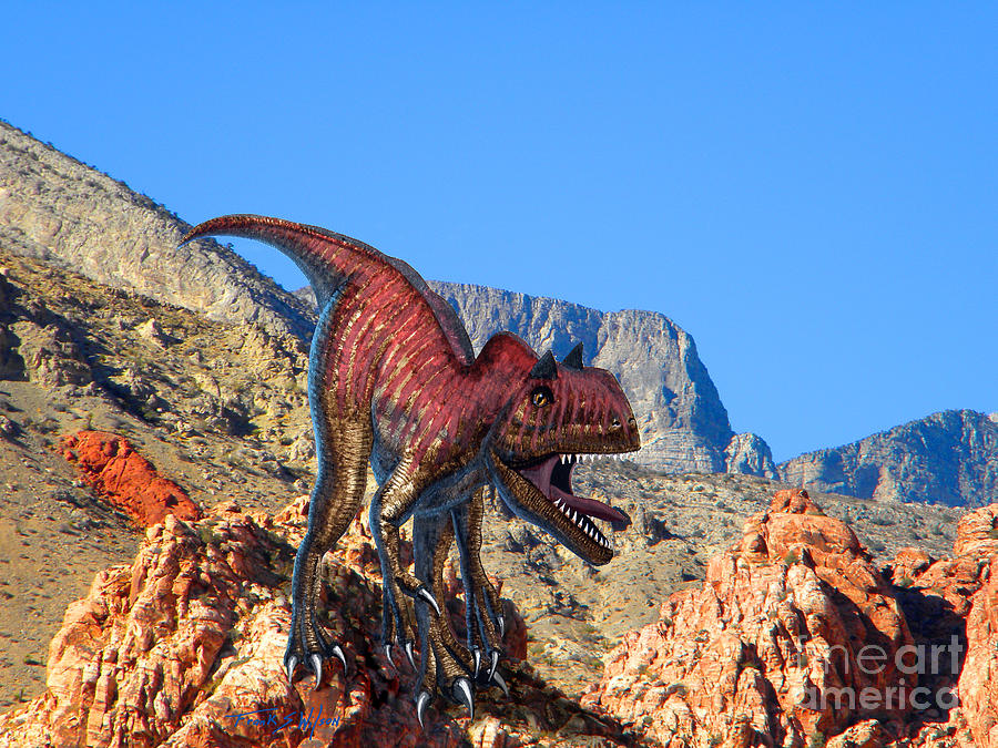 Dinosaur Mixed Media - Xuanhanosarus In The Desert by Frank Wilson