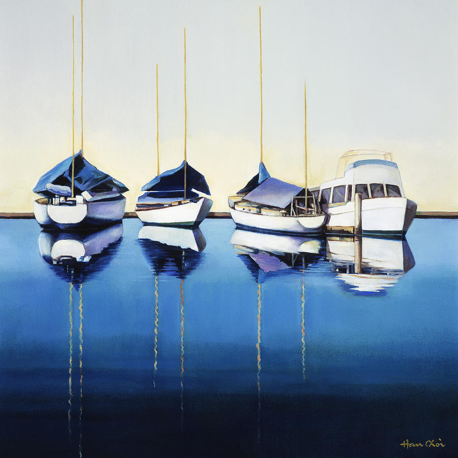 Art Medium Painting - Yacht Harbor by Han Choi - Printscapes