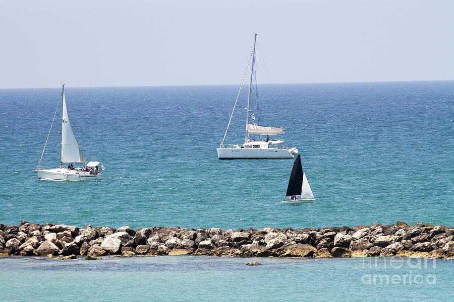 Leisure Photograph - yacht sailing in the Mediterranean sea by Vladi Alon