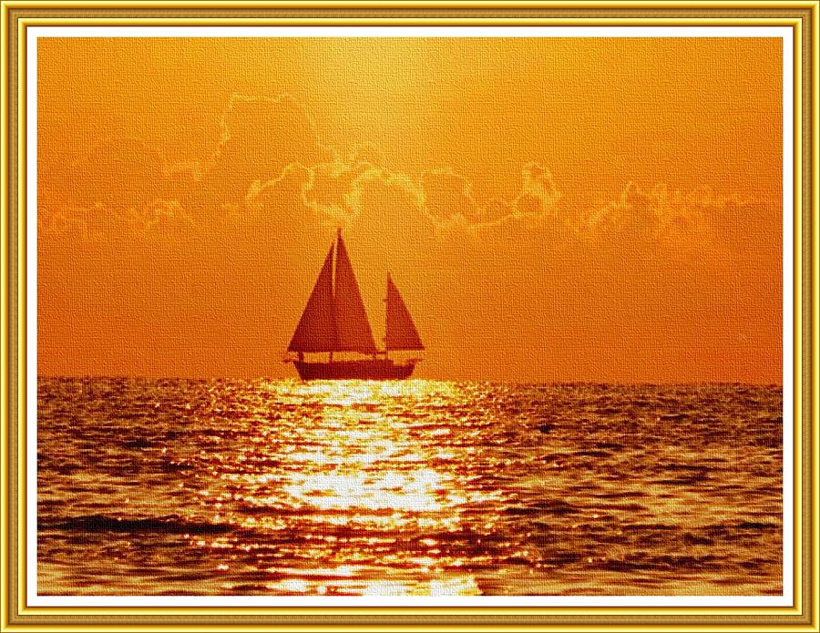Yacht Sunset L B With Alt. Decorative Ornate Printed Frame. Painting