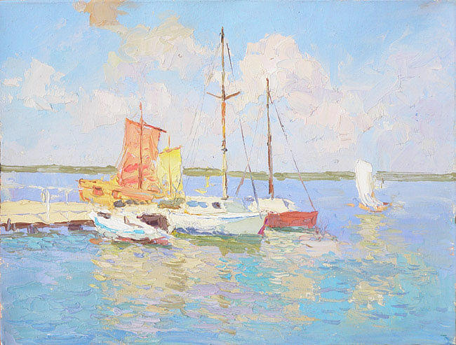 Russian Impressionism Painting - Yachts. Azure Water by Gregory Gamaley